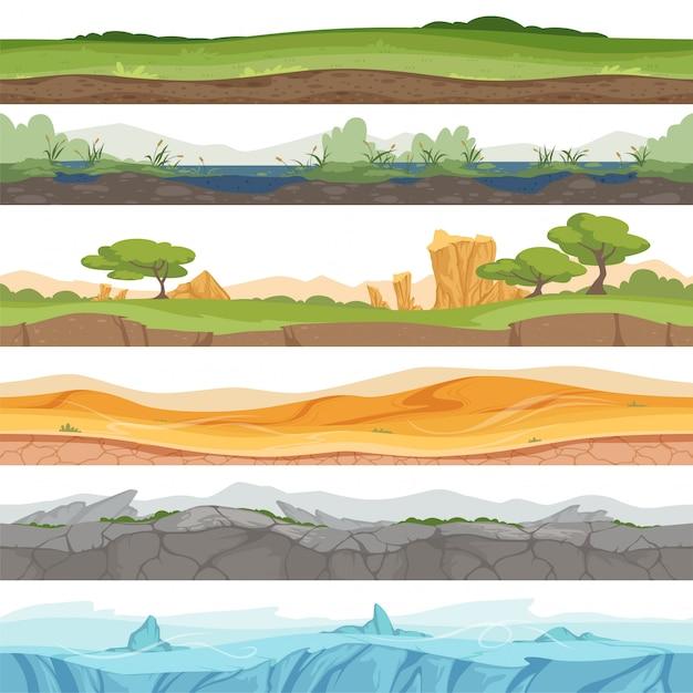 Parallax terreno senza soluzione di continuità. fumetto della roccia della sporcizia del deserto dell'acqua dell'erba ghiacciata del paesaggio del gioco Vettore Premium