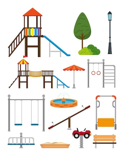 Parcheggi con progettazione dell'illustrazione di vettore di scena di zona del bambino Vettore Premium