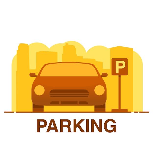 Parcheggio auto. cittadina. concetto dell'icona per l'applicazione mobile. Vettore Premium