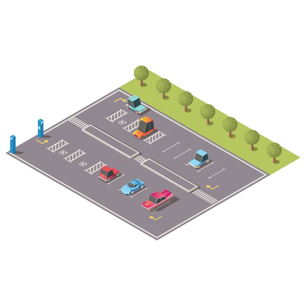 Parcheggio della città con il vettore isometrico degli spazi disabili Vettore gratuito