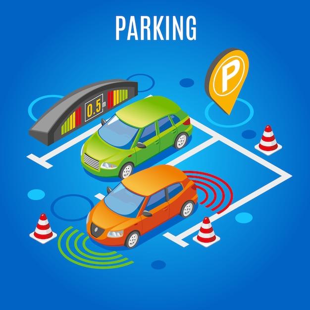 Parcheggio isometrico colorato Vettore gratuito