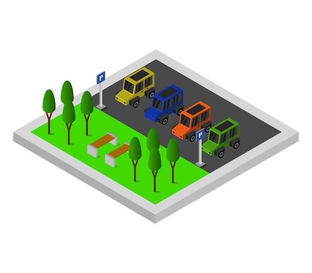 Parcheggio isometrico Vettore gratuito