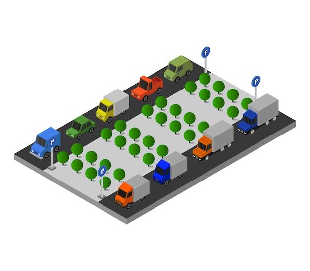 Parcheggio isometrico Vettore Premium