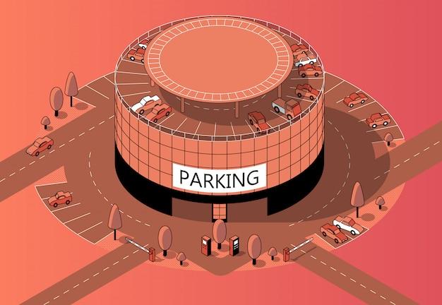 Parcheggio multipiano isometrico 3d con territorio Vettore gratuito