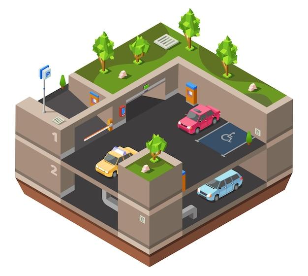 Parcheggio multipiano sotterraneo 3d isometrico per la costruzione Vettore gratuito