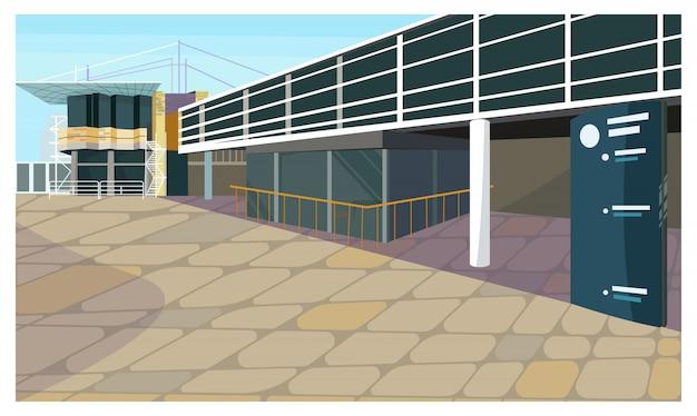 Parcheggio per l'illustrazione della casa di blocco Vettore gratuito