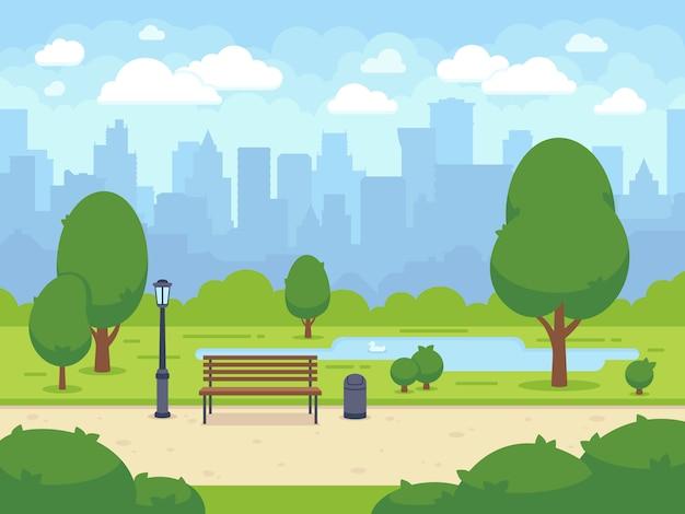 Parco cittadino estivo con panchina verde, passerella e lanterna. città e città parco natura del paesaggio. fumetto illustrazione vettoriale Vettore Premium