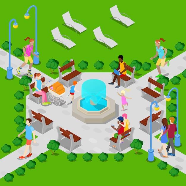 Parco cittadino isometrico con fontana. gente attiva che cammina nel parco. Vettore Premium