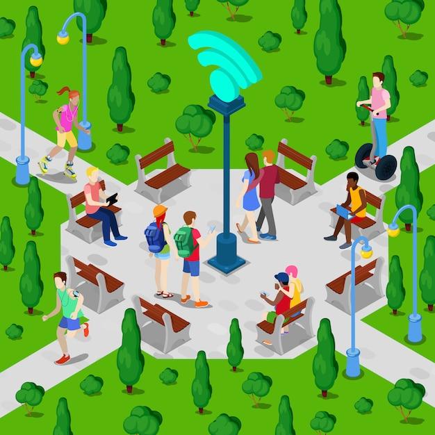 Parco cittadino isometrico con hotspot wi-fi. persone attive che utilizzano la connessione internet wireless all'aperto. illustrazione vettoriale Vettore Premium