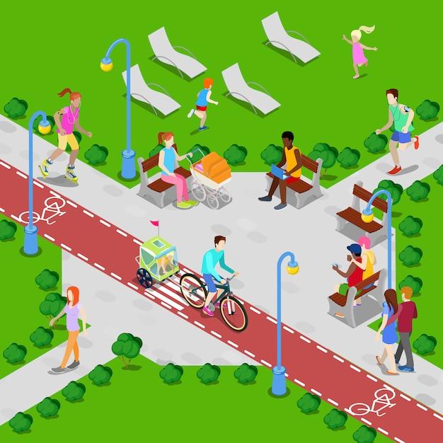 Parco cittadino isometrico con pista ciclabile. gente attiva che cammina nel parco. illustrazione vettoriale Vettore Premium
