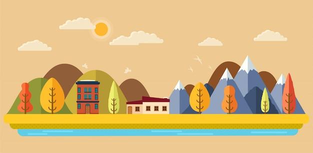 Parco d'autunno con vista sulla città, panorama montano e alberi, Vettore Premium