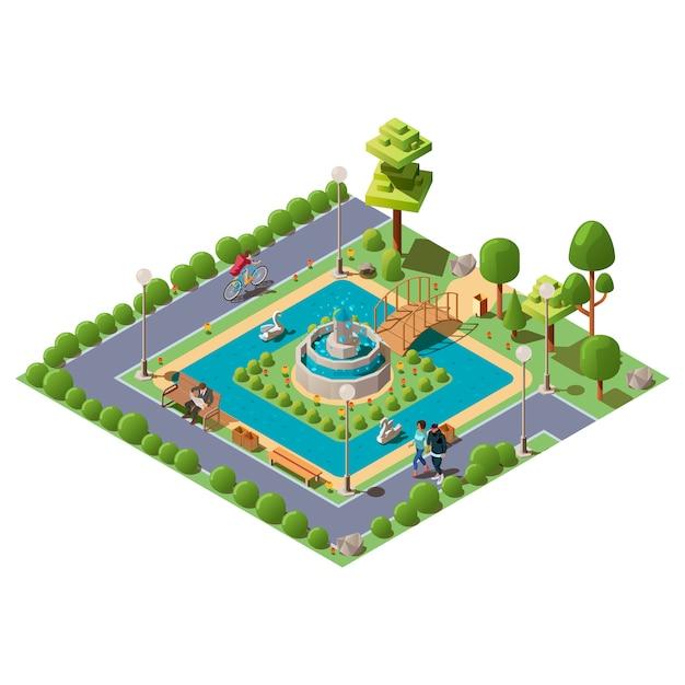 Parco della città verde isometrica per la ricreazione Vettore gratuito