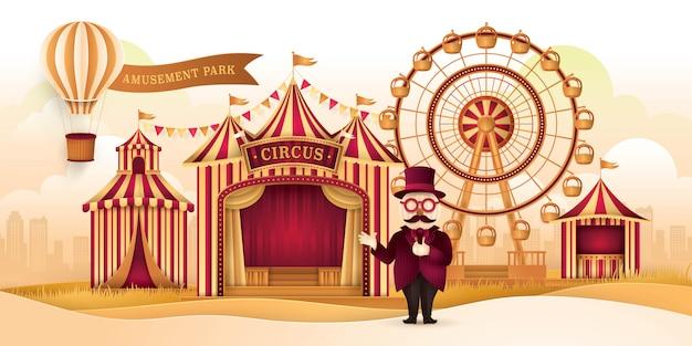 Parco divertimenti con ruota panoramica, tende da circo, carnival fun fair Vettore Premium