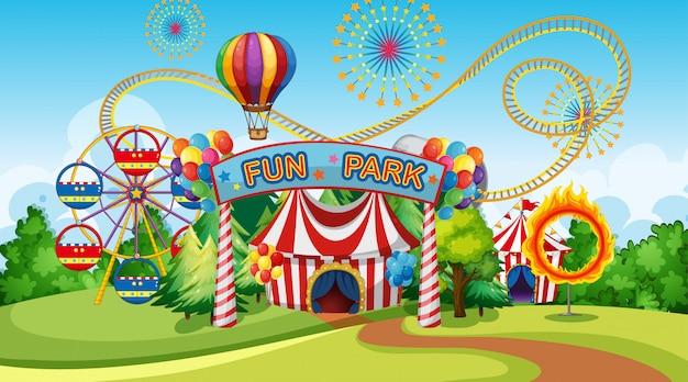 Parco divertimenti con ruota panoramica Vettore gratuito