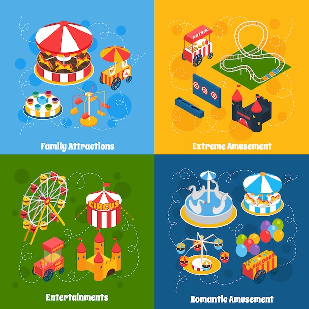 Parco divertimenti isometrico Vettore gratuito