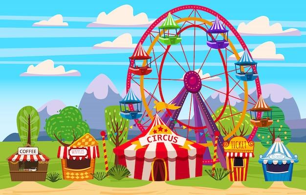 Parco divertimenti, un paesaggio con circo, giostre, carnevale, attrazioni e divertimenti, gelateria, tenda per bevande, waffle, biglietteria. illustrazione vettoriale Vettore Premium