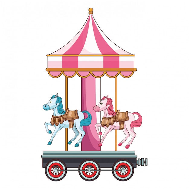 Parco giochi giostra cavalli Vettore Premium