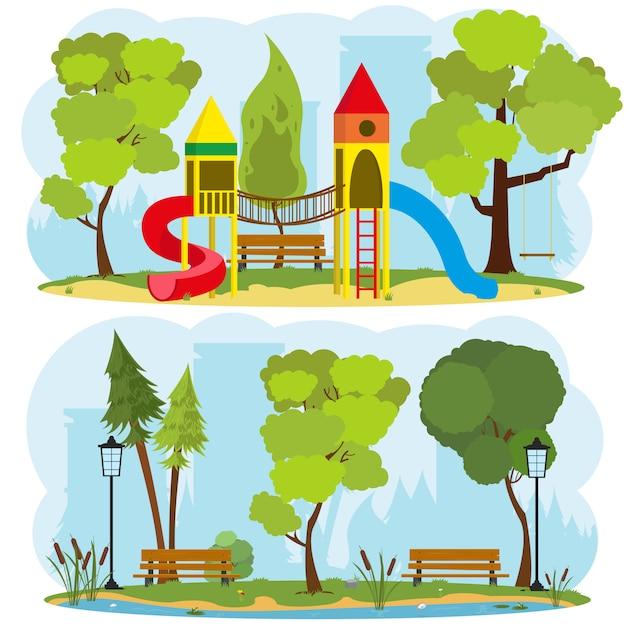 Parco giochi per bambini in un parco cittadino. Vettore Premium