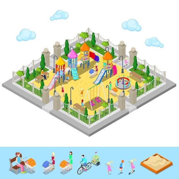 Parco giochi per bambini isometrico nel parco con persone, sweengs, giostra, scivolo e sandbox Vettore Premium
