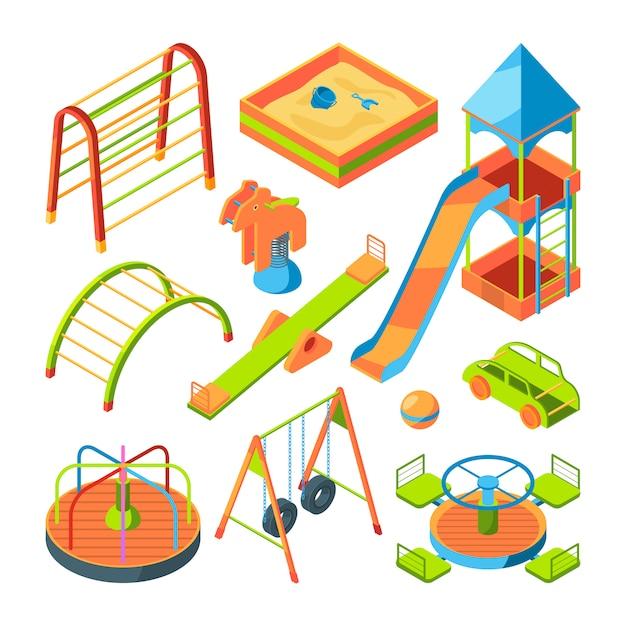Parco giochi per bambini set di immagini isometriche Vettore Premium