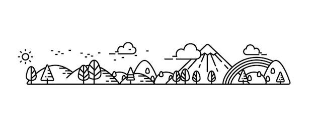 Parco naturale e buona illustrazione di vista dell'ambiente. Vettore Premium