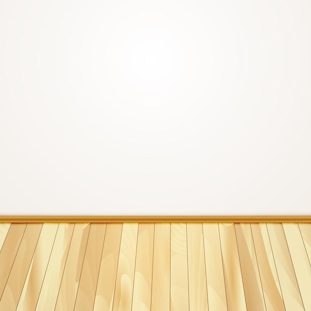 Parete di casa con pavimento in legno Vettore Premium