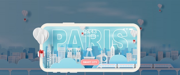 Parigi di viaggio della torre eiffel di festa di festa Vettore Premium