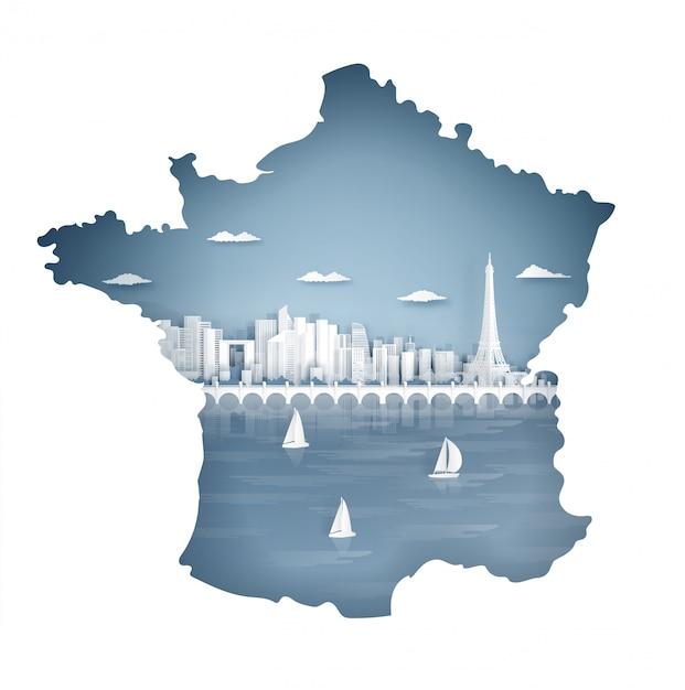 Parigi, francia mappa concetto con famoso punto di riferimento per la cartolina di viaggio e poster, brochure, pubblicità Vettore Premium