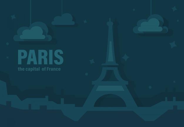 Parigi, la capitale della francia. illustrazione vettoriale di eiffel tower of paris Vettore Premium