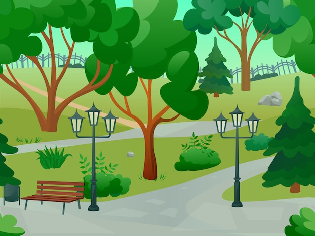 Park 2d panorama del gioco Vettore gratuito