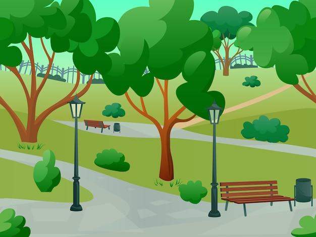 Park landscape flat Vettore gratuito