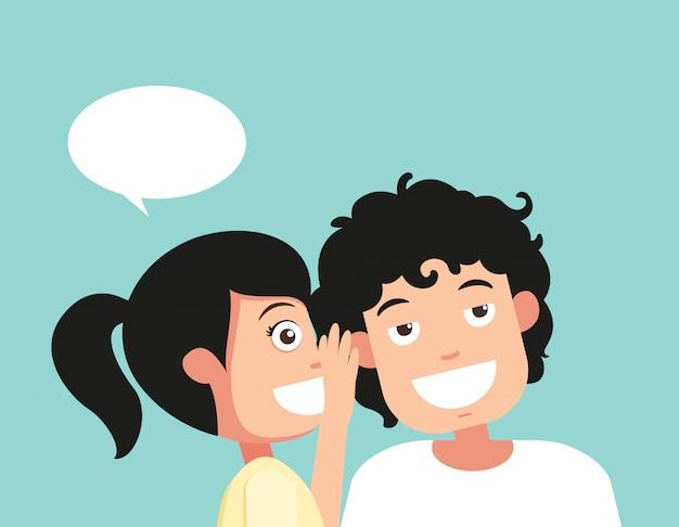 Parlare e ascoltare l'udito e il sussurro Vettore Premium