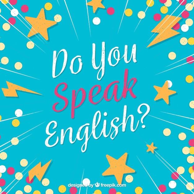 Parli inglese lettering sfondo Vettore gratuito