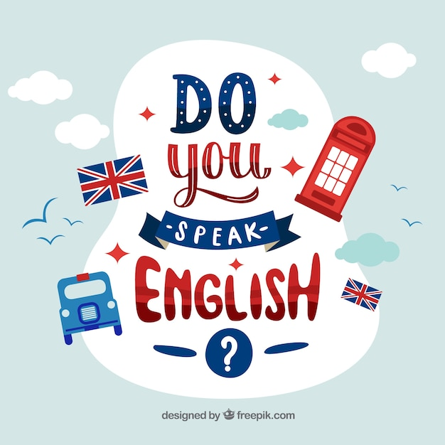 Parli Inglese Lettering Sfondo Vettore Gratis