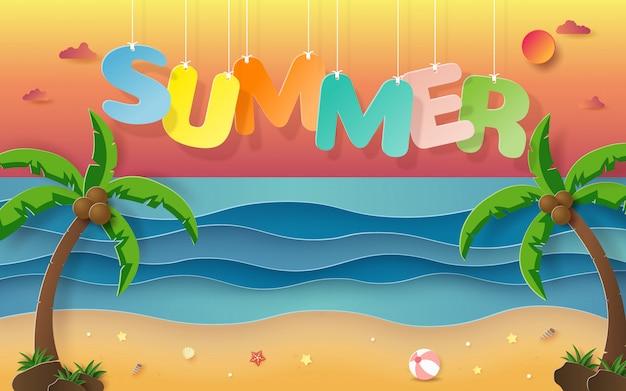 Parola d'attaccatura estate con sfondo della spiaggia tropicale Vettore Premium
