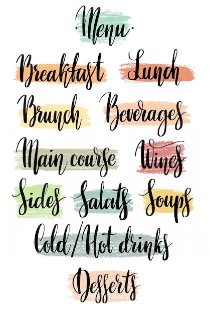 Parole per il menu del ristorante a mano su punti testurizzati. Vettore Premium