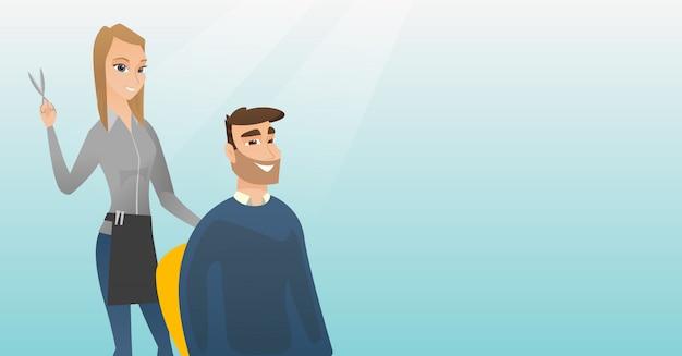 Parrucchiere che fa taglio di capelli per uomo hipster. Vettore Premium