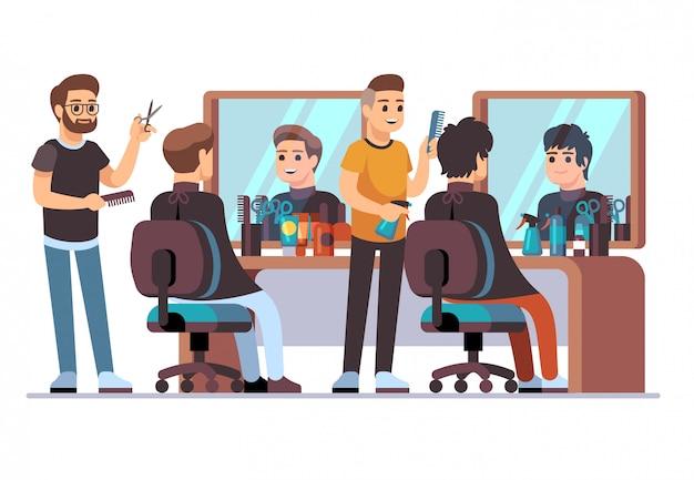 Parrucchiere con cliente. barbieri che fanno taglio di capelli alla moda maschio nell'interno del barbiere con gli specchi. illustrazione vettoriale di salone di bellezza Vettore Premium