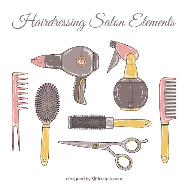 Parrucchiere della mano disegnato collezione di accessori salone Vettore gratuito