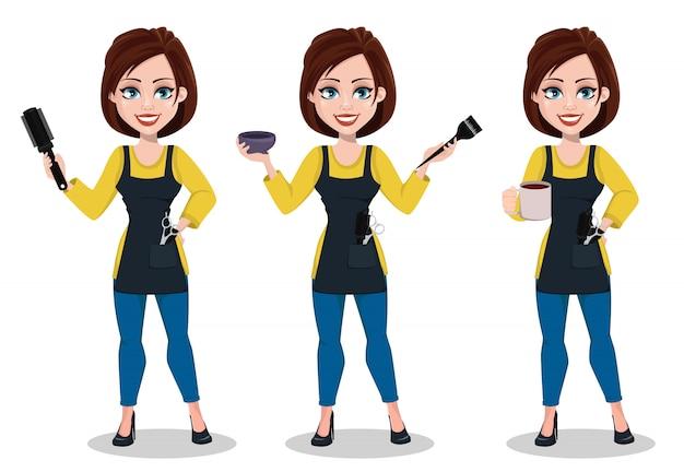 Parrucchiere donna in uniforme professionale Vettore Premium
