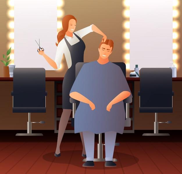 Parrucchiere femminile composizione piatta Vettore gratuito