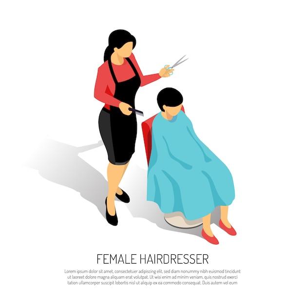 Parrucchiere femminile con il pettine e le forbici durante il lavoro su bianco isometrico Vettore gratuito