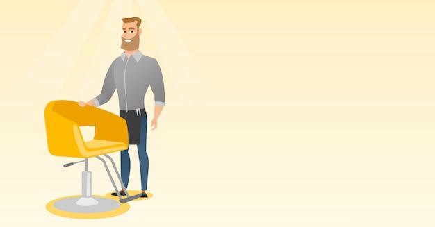 Parrucchiere sul posto di lavoro nel negozio di barbiere. Vettore Premium