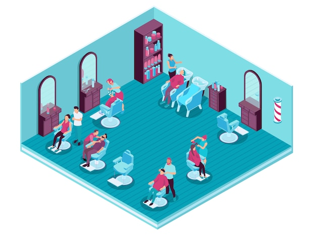 Parrucchieri che servono i loro clienti nell'illustrazione isometrica del parrucchiere 3d Vettore gratuito