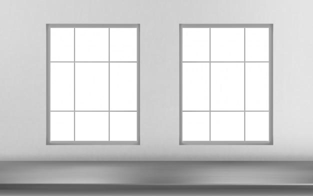 Parte anteriore d'acciaio della superficie della tavola delle finestre sulla parete bianca Vettore gratuito