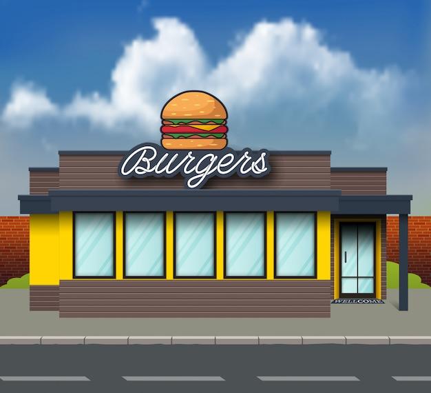 Parte anteriore del negozio burger di design piatto Vettore Premium