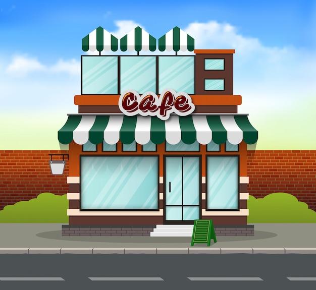 Parte anteriore del negozio di caffè design piatto Vettore Premium