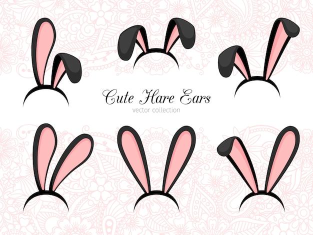 Parte costume orecchie da lepre Vettore Premium