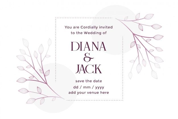 Partecipazione di nozze bianca con decorazioni floreali Vettore gratuito