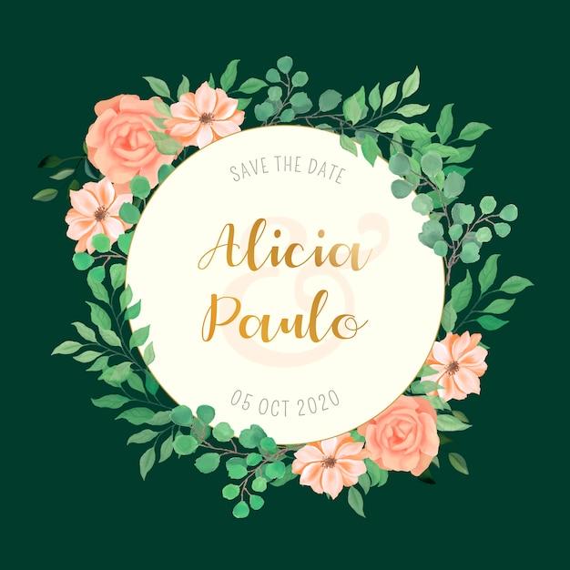 Partecipazione di nozze con cornice di fiori ad acquerello Vettore gratuito